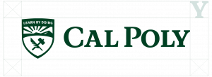 The Cal Poly logo diagram exhibiting the appropriate clear space required when using the logo