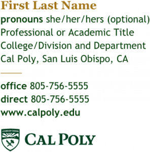 Cal Poly's email signature example