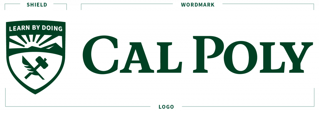 The Cal Poly logo diagram that labels the shield and the wordmark