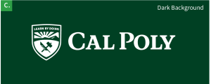 The Cal Poly logo in white on a dark green background