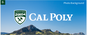 The Cal Poly logo on a photo background