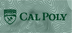 An example of the Cal Poly logo inappropriately placed over a busy textured background