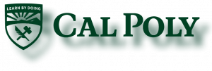 An example of the Cal Poly logo incorrectly used with a drop shadow