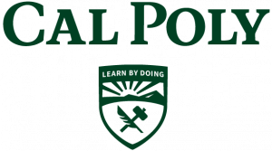 An example of the Cal Poly logo inappropriately moving the shield and the wordmark