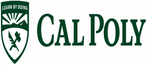 An example of the Cal Poly logo inappropriately stretched