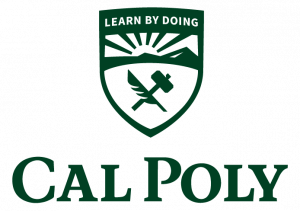 The vertical version of the Cal Poly logo