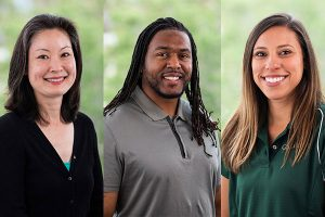 Three Cal Poly admissions team members posing for head shots in front of a green background